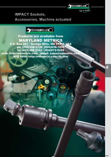 IMPACT Sockets, Accessories, Machine actuated - Maryland Metrics