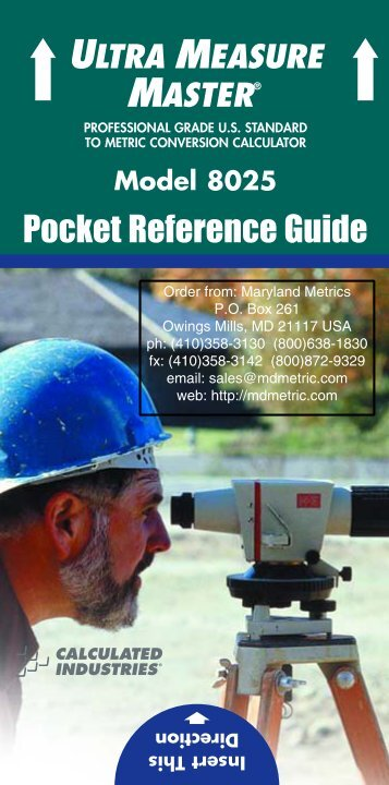 Pocket Reference Guide - download (pdf) - Maryland Metrics
