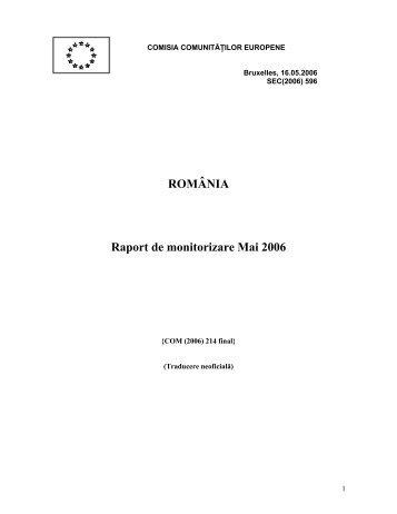 ROMÂNIA Raport de monitorizare Mai 2006 - Ministerul Dezvoltării ...