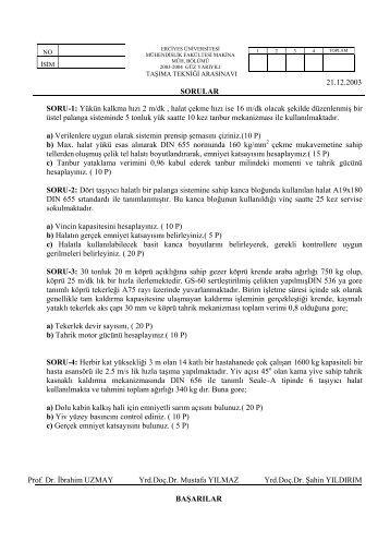 2003-2004 Arasınav Çözümü - Erciyes Üniversitesi | Makina ...