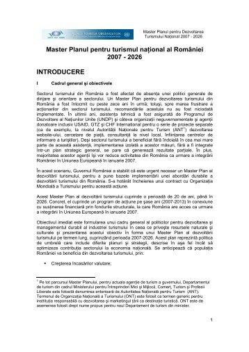 Master Planul pentru turismul naŃional al României 2007 - 2026 ...