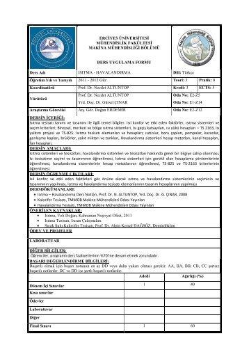 ısıtma & havalandırma - Erciyes Üniversitesi | Makina Mühendisliği ...