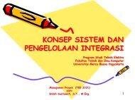 KONSEP SISTEM DAN PENGELOLAAN INTEGRASI Program Studi ...