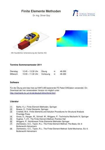 Finite Elemente Methoden - Lehrstuhl für Technische Mechanik