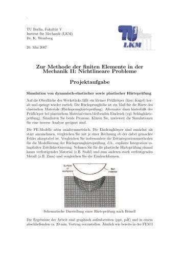 Zur Methode der finiten Elemente in der Mechanik II: Nichtlineare ...