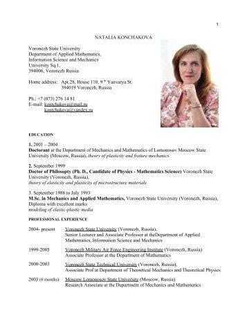 NATALIA KONCHAKOVA Voronezh State University Department of ...