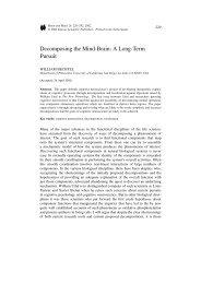 Decomposing the Mind-Brain: A Long-Term Pursuit - William Bechtel