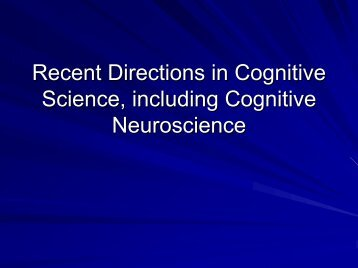 Recent Directions in Cognitive Science, including Cognitive ...