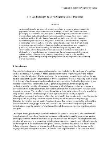 Is Philosophy a Cognitive Science Discipline