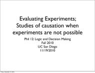 Causation when experiments are not possible - UC San Diego