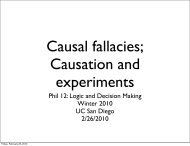 Causation and experiments - UC San Diego