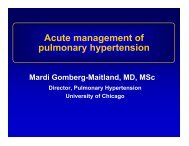 Acute management of pulmonary hypertension