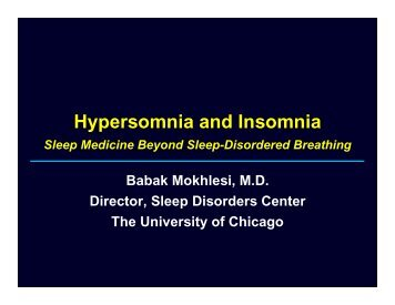 Hypersomnia and Insomnia - The University of Chicago Department ...