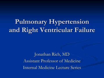 Pulmonary Hypertension and Right Ventricular Failure