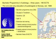 Bachelor Programme in Audiology – three years - 180 ECTS The ...
