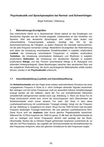 Psychoakustik und Sprachperzeption bei Normal- und Schwerhörigen