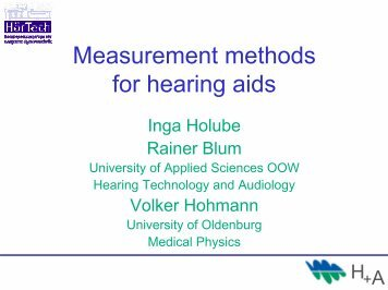 Measurement methods for hearing aids - Medical Physics