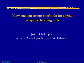 New measurement methods for signal adaptive hearing aids