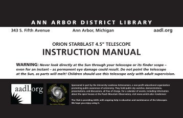 INSTRUCTION MANUAL - Ann Arbor District Library