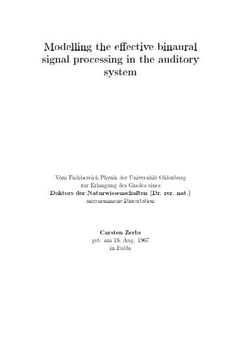 Modelling the effective binaural signal processing in the auditory ...