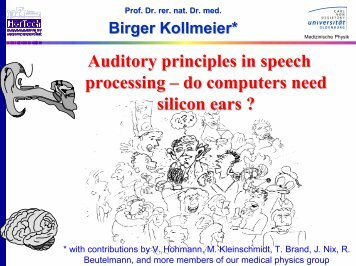 Auditory principles in speech processing œ do ... - Medical Physics