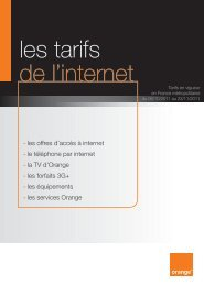 les tarifs de l'internet - Orange