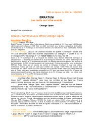 ERRATUM contenu commun aux offres Orange Open