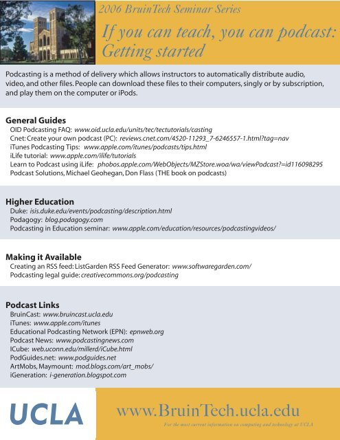 Get Started Podcasting! seminar handout - UCLA