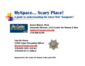 MySpace… Scary Place! - UCLA