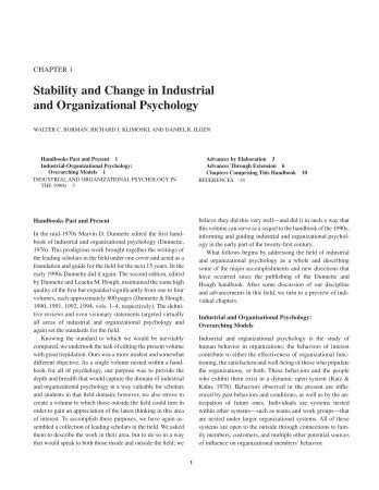 Stability and Change in Industrial and Organizational ... - Axon