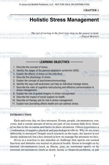 Holistic Stress Management - Jones & Bartlett Learning