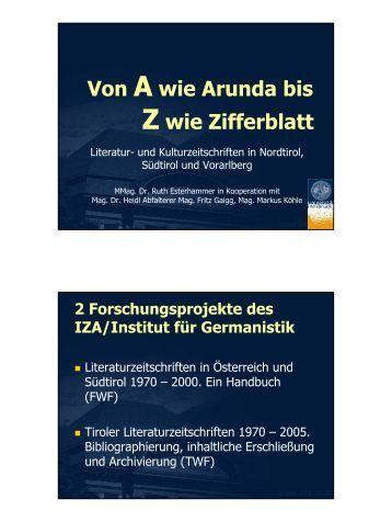 Literatur- und Kulturzeitschriften