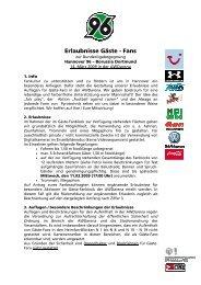 Erlaubnisse Gästefans - Borussia Dortmund
