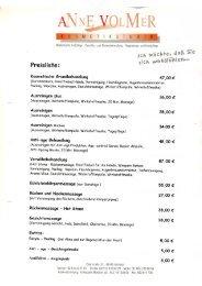 Behandlungen - Preise ab 01.01.2011 - Kosmetikstudio Anne Volmer