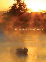 2010 MasterCraft Owner's Manual