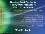 Thorium Fuel Cycles – AECL Experience - media.cns-snc.ca - SNC