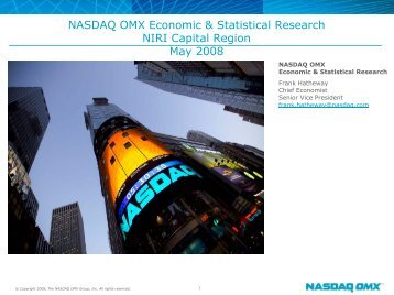 NASDAQ OMX Economic & Statistical Research NIRI Capital ...