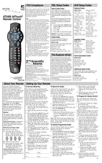 Cox cable remote Control manual