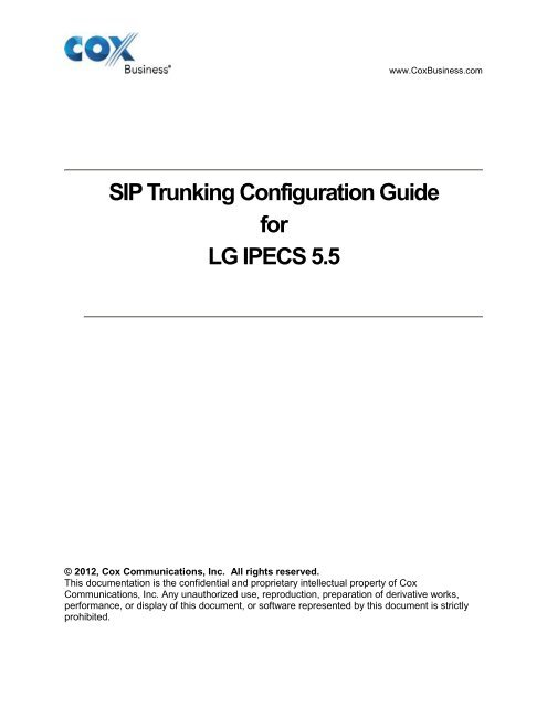 SIP Trunking Configuration Guide for LG IPECS 5 - Cox