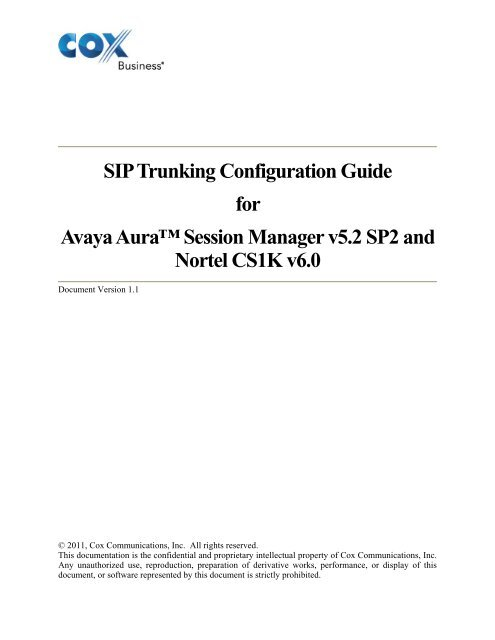 SIP Trunking Configuration Guide For Avaya Aura™ Session