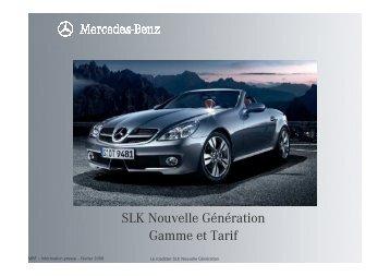 SLK Nouvelle Génération Gamme et Tarif - Daimler