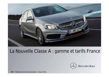 La Nouvelle Classe A : gamme et tarifs France