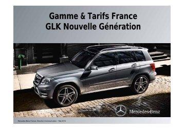 Gamme & Tarifs France GLK Nouvelle Génération - Daimler