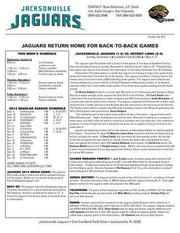 jaguars return home for back-to-back games - Detroit Lions ...
