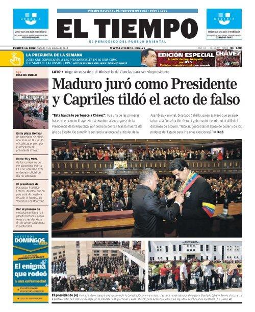 Maduro Juró Como Presidente Y Capriles Tildó El Acto De