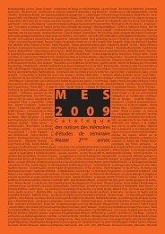 Catalogue des notices des MES 2009 - Ecole Nationale Supérieure ...