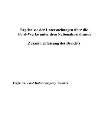 Ergebnisse der Untersuchungen über die Ford-Werke unter dem ...