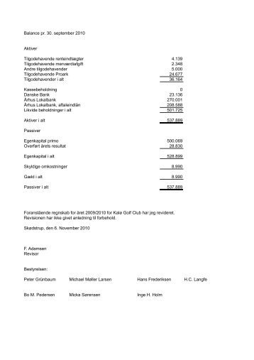 Balance 2009-2010 - Kalø Golf Club
