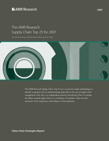 The AMR Research Supply Chain Top 25 for 2007