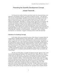 Promoting the Scientific Development Concept - Hoover Institution